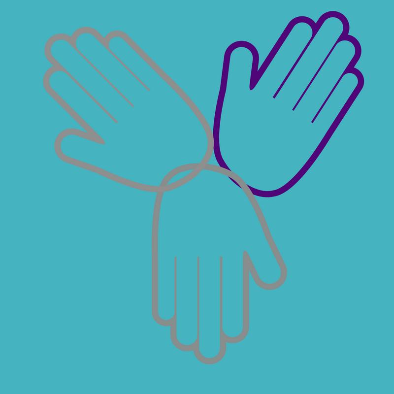Three hands. One outlined in purple. Two outlined in gray.
