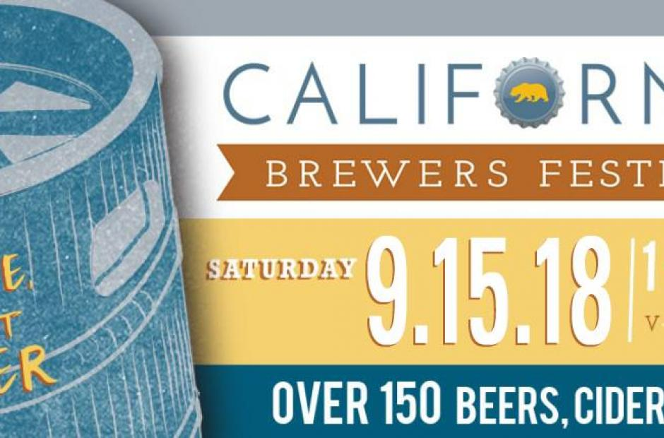 Logo California in blue and orange ribbon with brewers festival